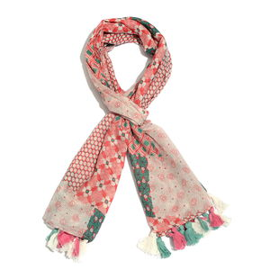 Pink 100% Cotton Printed Pareo with Pom Pom Tassles (43x73 in)