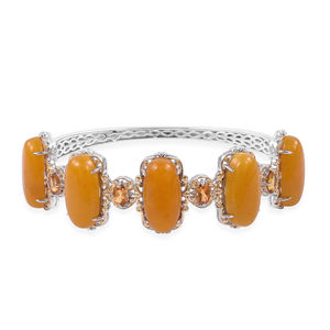 Burmese Honey Jade, Brazilian Citrine 14K YG Over and Sterling Silver Bangle (7.25 in) TGW 56.35 cts.