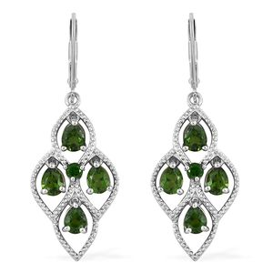 Russian Diopside Platinum Over Sterling Silver Lever Back Earrings TGW 2.90 cts.