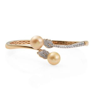 South Sea Pearl (10-10.5 mm), Cambodian Zircon Platinum and 14K YG Over Sterling Silver Bypass Bangle (7.25 in) TGW 1.16 cts.