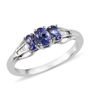 Dan's Collector Deal Tanzanite, Diamond Platinum Over Sterling Silver Ring (Size 5.0) TDiaWt 0.07 cts, TGW 1.01 cts.