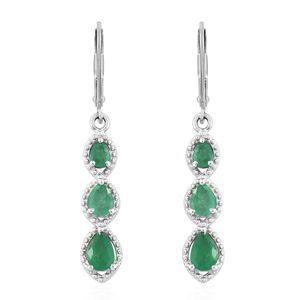 Brazilian Emerald Platinum Over Sterling Silver Lever Back Earrings TGW 1.66 cts.