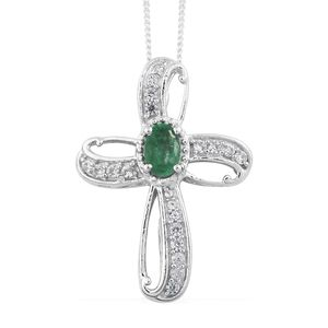 Brazilian Emerald, Cambodian Zircon Platinum Over Sterling Silver Cross Pendant With Chain (20 in) TGW 0.79 cts.