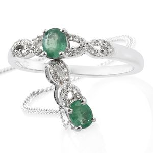 Brazilian Emerald, Cambodian Zircon Platinum Over Sterling Silver Ring (Size 9) and Pendant With Chain (20 in) TGW 0.90 cts.