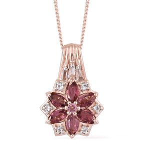 Morro Redondo Pink Tourmaline, White Topaz Vermeil RG Over Sterling Silver Floral Pendant With Chain (20 in) TGW 1.24 cts.