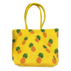 Budget Pay Bonanza Yellow 100% Natural Jute Pineapple Printed Tote with Polyester Interior (18.5x5x13 in)