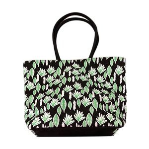 Budget Pay Bonanza Black 100% Natural Jute Leaves Printed Tote with Polyester Interior (18.5x5x13 in)