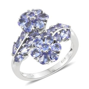 Tanzanite Platinum Over Sterling Silver Floral Bypass Ring (Size 7.0) TGW 2.90 cts.