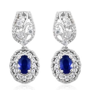 Blue Spinel, Cambodian Zircon Platinum Over Sterling Silver Earrings TGW 1.89 cts.