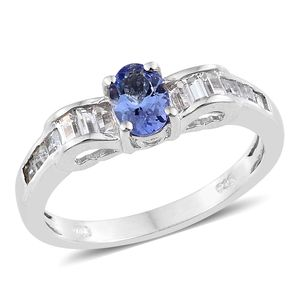 Tanzanite, White Topaz Platinum Over Sterling Silver Princess Ring (Size 5.0) TGW 1.64 cts.