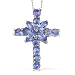 Tanzanite Platinum Over Sterling Silver Cross Pendant With Chain (20 in) TGW 2.60 cts.
