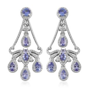 Tanzanite Platinum Over Sterling Silver Chandelier Earrings TGW 2.45 cts.