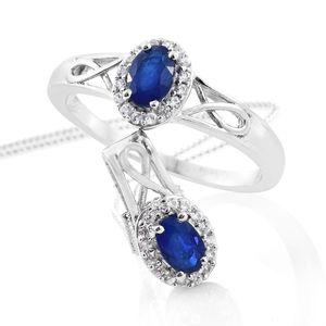 Blue Spinel, Cambodian Zircon Platinum Over Sterling Silver Ring (Size 8) and Pendant With Chain (20 in) TGW 1.35 cts.