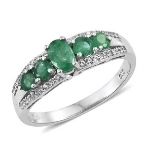 Brazilian Emerald, Cambodian Zircon Platinum Over Sterling Silver Ring (Size 7.0) TGW 1.29 cts.