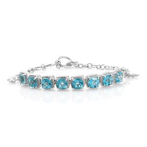 Paraiba Topaz Platinum Over Sterling Silver Sea Friends Charms Bracelet (7.50 In) TGW 9.70 cts.