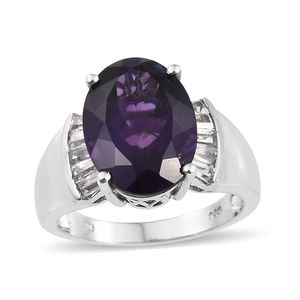 Dan's Collector Deal Lusaka Amethyst, White Topaz Platinum Over Sterling Silver Ring (Size 10.0) TGW 10.05 cts.
