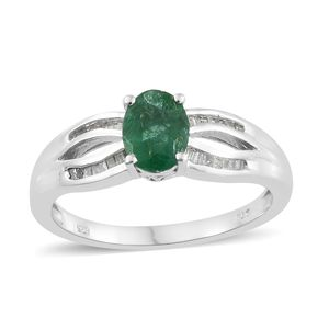 Brazilian Emerald, Diamond Platinum Over Sterling Silver Ring (Size 6.0) TDiaWt 0.18 cts, TGW 1.18 cts.