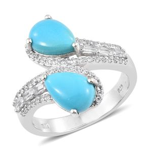 Arizona Sleeping Beauty Turquoise, White Topaz Platinum Over Sterling Silver Bypass Ring (Size 7.0) TGW 4.30 cts.