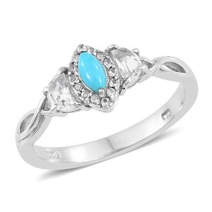 Arizona Sleeping Beauty Turquoise, White Topaz Platinum Over Sterling Silver Ring (Size 8.0) TGW 1.00 cts.