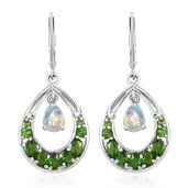 Russian Diopside, Ethiopian Welo Opal Platinum Over Sterling Silver Earrings TGW 2.98 cts.