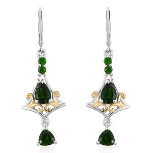 Russian Diopside 14K YG and Platinum Over Sterling Silver Lever Back Drop Earrings TGW 2.88 cts.