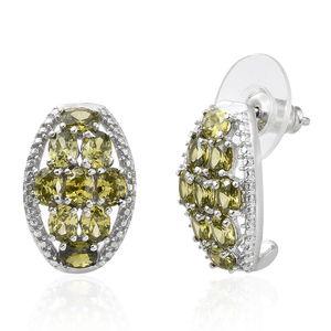 KARIS Collection - Simulated Peridot Platinum Bond Brass J-Hoop Earrings TGW 5.06 cts.