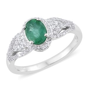 Brazilian Emerald, Cambodian Zircon Platinum Over Sterling Silver Ring (Size 6.0) TGW 1.63 cts.