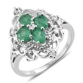 Brazilian Emerald, Cambodian Zircon Platinum Over Sterling Silver Ring (Size 7.0) TGW 1.65 cts.