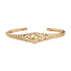 White South Sea Pearl (11.5-12 mm) Vermeil YG Over Sterling Silver Openwork Woven Solitaire Cuff (8 in)