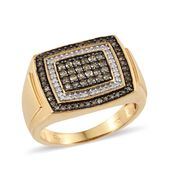 Natural Champagne Diamond, Diamond Black Rhodium & Vermeil YG Over Sterling Silver Men's Ring (Size 14.0) TDiaWt 1.03 cts, TGW 1.03 cts.