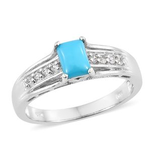 Arizona Sleeping Beauty Turquoise, Cambodian Zircon Platinum Over Sterling Silver Ring (Size 9.0) TGW 1.00 cts.