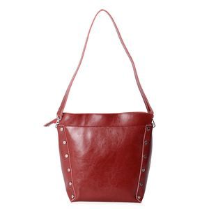 Red Genuine Leather Studded Bucket Bag with Detachable Shoulder Strap (11x5x12 in)