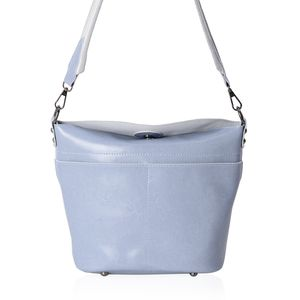 Dusty Blue Genuine Leather Crossbody Bag with Removeable Shoulder Strap (10x4x10 in)