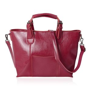 Fuchsia Genuine Leather Tote Bag with Shoulder Strap and Handle (15.3x12x10 in)