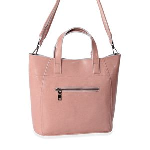 Rose Genuine Leather Wooden Tassel Tote Bag with Standing Studs and Removable Fabric Shoulder Strap (11x4.5x10 in)