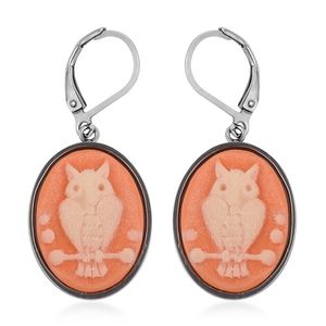 Cameo Stainless Steel Lever Back Earrings TGW 10.00 cts.