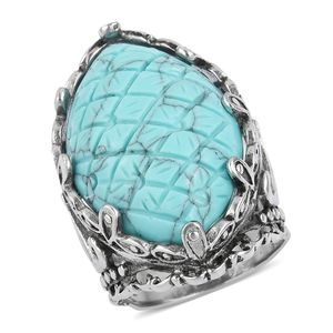 Blue Howlite Black Oxidized Stainless Steel Ring (Size 8.0) TGW 20.00 cts.