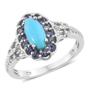 Arizona Sleeping Beauty Turquoise, Multi Gemstone Platinum Over Sterling Silver Ring (Size 5.0) TGW 1.63 cts.
