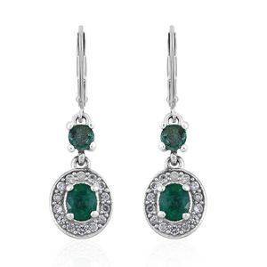 Brazilian Emerald, Cambodian Zircon Platinum Over Sterling Silver Lever Back Earrings TGW 1.37 cts.
