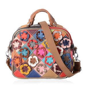 Chaos By Elsie Multi Color Satchel Bag with Flowers