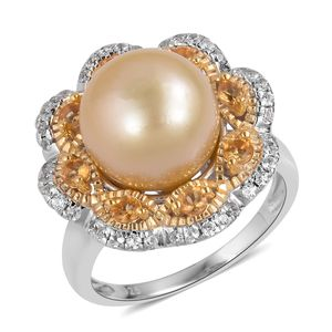 South Sea Golden Pearl (12-12.5 mm), Multi Gemstone 14K YG and Platinum Over Sterling Silver Floral Ring (Size 7.0) TGW 1.07 cts.