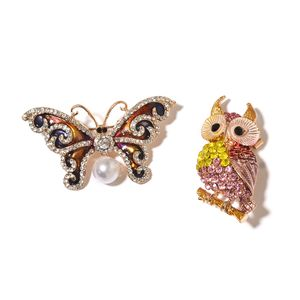Multi Color Austrian Crystal, Multi Gemstone, Enameled Goldtone Set of 2 Owl and Butterfly Brooch TGW 10.02 cts.