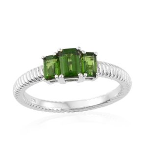 Russian Diopside Platinum Over Sterling Silver Trilogy Ring (Size 5.0) TGW 1.37 cts.