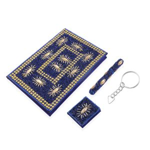 Set of 3 Gift Set - Blue Beaded Diary (5x7 in), Ball Point Pen (4.5 in) and Notebook Shape Keychain (1.5x2 in)