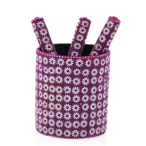 DOORBUSTER Set of 3 Pink Beaded Pen (4.5 in) with Matching Beaded Pen Pot (2.75x3 in)