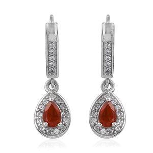 Crimson Fire Opal, Cambodian Zircon Platinum Over Sterling Silver Drop Earrings TGW 0.98 cts.