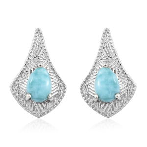 GP Larimar Platinum Over Sterling Silver Earrings TGW 1.81 cts.