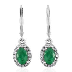 Brazilian Emerald, Cambodian Zircon Platinum Over Sterling Silver Lever Back Earrings TGW 1.22 cts.