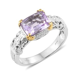 KARIS Collection - Rose De France Amethyst ION Plated 18K YG and Platinum Bond Brass Ring (Size 10.0) TGW 2.80 cts.