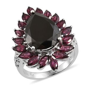 Shungite, Orissa Rhodolite Garnet Platinum Over Sterling Silver Ring (Size 7.0) TGW 11.95 cts.